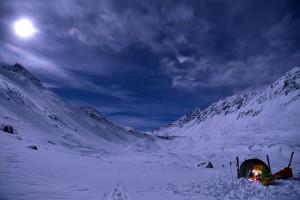 Übernachtungstest in Davos bei Vollmond und -20 Grad .
