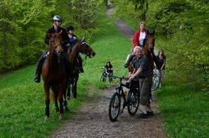 Velofahrer, Reiter, Hundehalter und Wanderer demonstrierten gemeinsam.